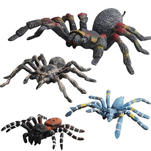 (Fantarea Realistic Fake Wild Life Forest Jungle Animal World Figures Model Spiders Tarantula Model Set Toys for 5 6 7 8 Years Old Boys Girls Kid Insect Cake Topper Desktop Decor Playset(4 pcs))