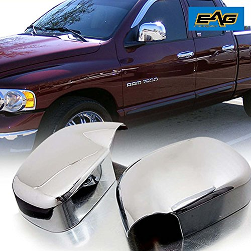 EAG Mirror Covers Triple Chrome Plated ABS Fit for 02-08 Dodge Ram 1500/03-09 Dodge Ram 2500/3500 Chrome 1500 Triple Handle