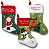 magnificent fireplace mantel decoration Christmas Stockings for Women Men Adults Kids Girls Boys Cute Embroidered Stockings for Hanging Featuring Santa Snowman Reindeer Snowflakes Red and Green Design for Holiday Decorations Fireplace