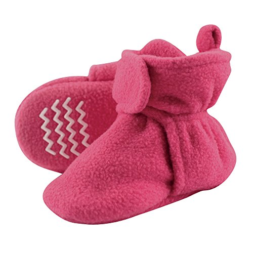 Hudson Baby Baby Cozy Fleece Booties with Non Skid Bottom, Dark Pink, 4T