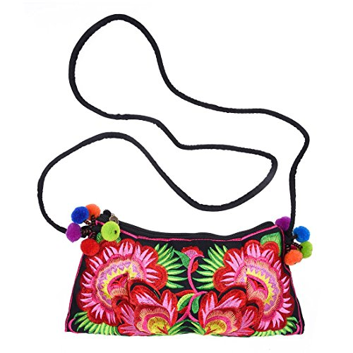Butterflies women body R bags Flower cross handmade one embroidery messenger Embroidered handbag Clutch Clouds SODIAL Red and fabric shoulder bag Messenger UqpnF7PwF