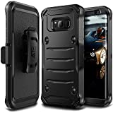 Samsung Galaxy S8+ Plus Case, E LV Belt Swivel Clip / Kickstand - Dual Layer Armor Holster Defender Full Body Protective Case Cover for Samsung Galaxy S8+ Plus - [BLACK/BLACK]