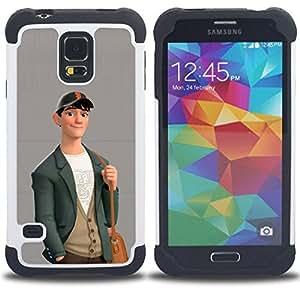 BullDog Case - FOR/Samsung Galaxy S5 I9600 G9009 G9008V / - / BOY CUTE FRIENDLY ART DRAWING CASUAL FASHION /- H??brido Heavy Duty caja del tel??fono protector din??mico - silicona suave