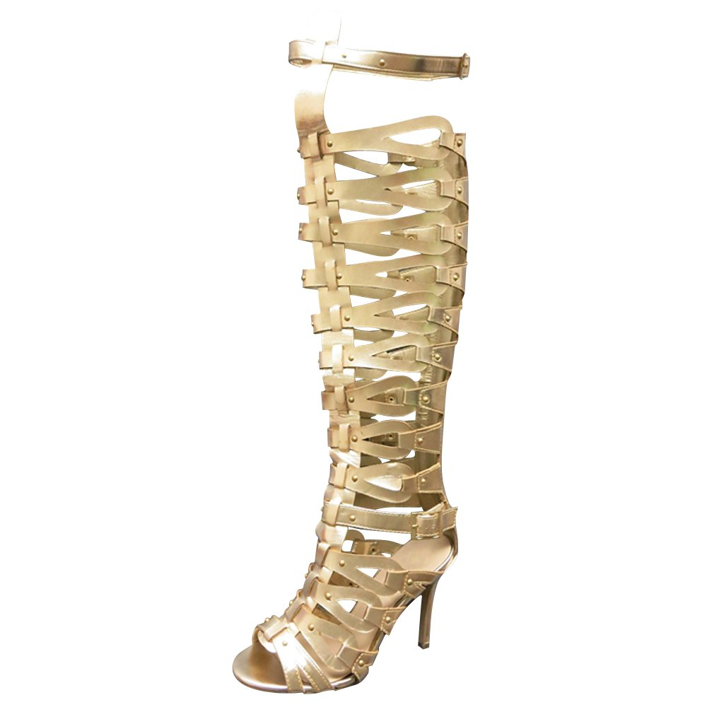 Women's Gold Gladiator Wide Faux Leather Strap Over-the-Knee High-Heel Sandals - DeluxeAdultCostumes.com