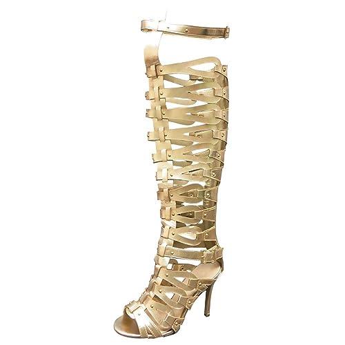 f94a19fd485 OCHENTA Women's Strappy Over The Knee High Heel Stiletto Gladiator Sandals