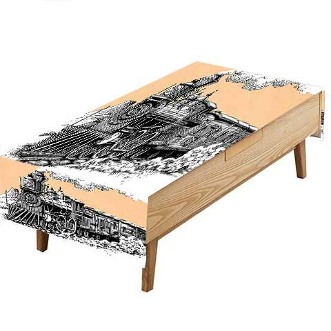 PINAFORE Indoor/Outdoor Spillproof Tablecloth Wooden Train on Rails Wild West Wagon in Drawing Effect Artsy Peach White Great Buffet Table, Parties,Wedding & More W54 x L90 - Wagon Winnie