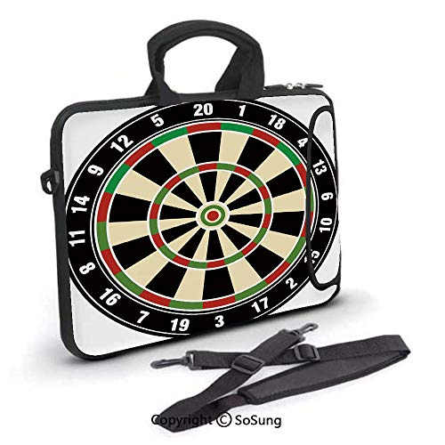 15 inch Laptop Case,Dart Board Numbers Sports Accuracy Precision Target Leisure Time Graphic Neoprene Laptop Shoulder Bag Sleeve Case with Handle and Carrying & External Side Pocket,for Netbook/MacBoo ()