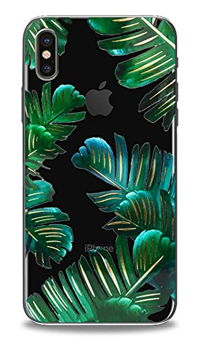 10 Tropical Leaf - Iphone X 10 Case, Simple Fashion Tropical Floral Printed Palm Leaf Pattern Transparent Back Cover for Iphone X, Iphone 10 5.8inches Ultra Thin Slim Case