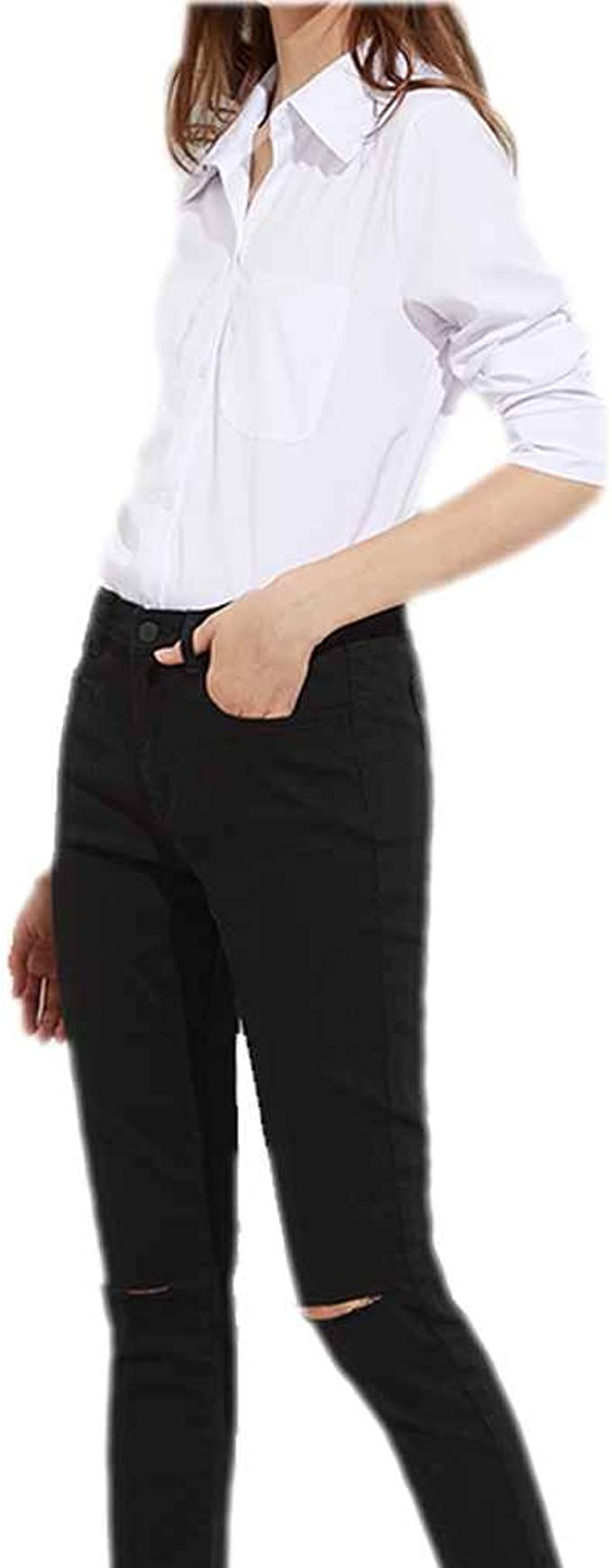 Chilie Blusa blanca dividida lateral de la calle alta de las mujeres Mujeres vuelven camisas largas de la manga del cuello