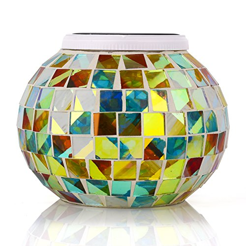 Senbowe™ Solar Powered Mosaic Glass Ball LED Garden Lights,Color Changing Solar Table Lamps,Waterproof Solar Outdoor Lights for Christmas,Home,Yard, Patio,,Ideal Gifts - 5.12 4.13 In (Outdoor Glass Tables)