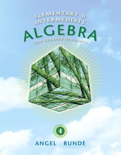 Read Online Elementary &Intermediate Algebra for College Students 4th Edition by Angel, Allen R. [Hardcover] PDF