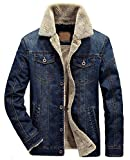 Chouyatou Men's Classic Button Front Rugged Sherpa Lined Denim Trucker Jackets (Medium, Dark Blue)