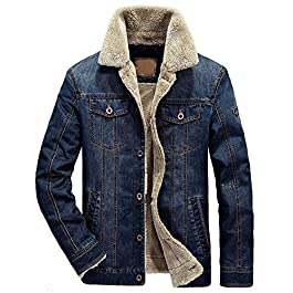 chouyatou Men's Classic Button Front Rugged Sherpa Lined Denim Trucker Jackets
