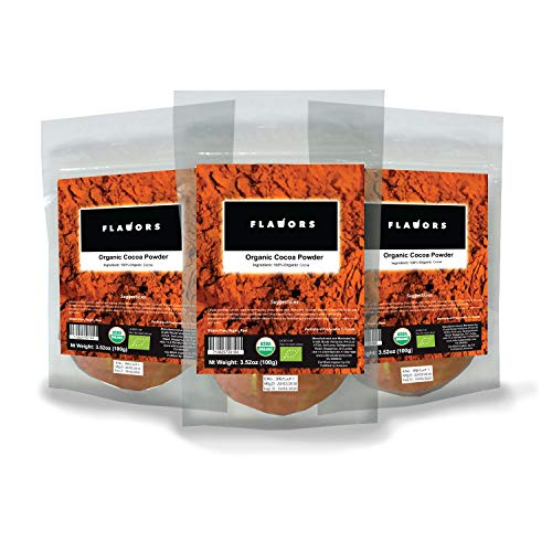 FLAVORS 100% Organic Pure Cocoa Premium Quality Powder - USDA Certified - 300grams (100g x 3) In Resealable Stand-Up Pouch!!! -  E-Silk Route Ventures (Pvt.) Ltd.