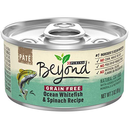 Purina Beyond Grain Free, Natural Pate Wet Cat Food; Grain Free Ocean Whitefish & Spinach Recipe - 3 oz. Can]()