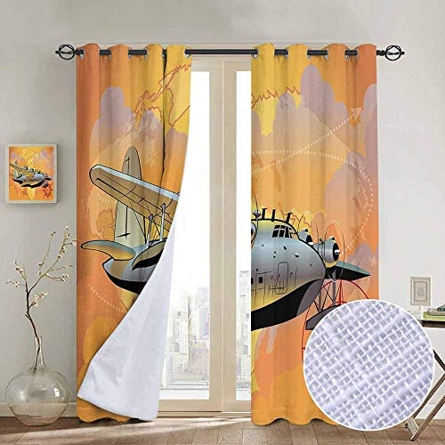 Complete Decor Compass Room - NUOMANAN Curtains for Living Room Vintage Airplane Decor,Retro Seaplane in Sky World Map Compass Adventure Travel Journey,Multicolor,Complete Darkness, Noise Reducing Curtain 84