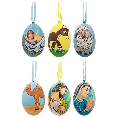 3'' Set of 6 Nativity Scene Set Ukrainian Wooden Christmas Ornaments by BestPysanky