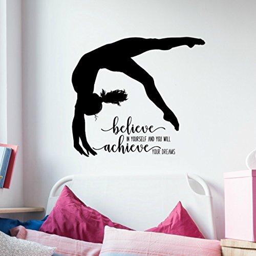 Gymnastics Quote Wall Decal, Dance Studio Decor, Gymnast Vinyl Sticker, 36