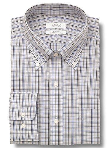 Enro Button Down Dress Shirt (Enro Arlington Check Button Down Collar Non-Iron Dress Shirt (Gray, 16 34/35))
