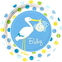 "Custom & Unique {9"" Inch} 8 Count Multi-Pack Set of Medium Size Round Circle Disposable Paper Plates w/ Spotted Stork Delivering Baby Boy Bear Swaddled in Blanket ""Blue, Green & Yellow Colored"""