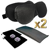 Apexan Sleep Mask/ 3D Eye Mask , Contoured & Comfortable Sleep Mask & Ear Plug Set, Total Blackout Eyemask, Deep Cavity, Eyes Touch Free - Including Carry Pouches, Ear Plugs & Travel Zipper Bag