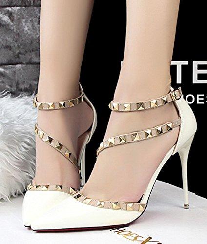 Minetom Partei Frühjahr Sommer Herbst Mode Damen Wies High Heels Niet Rotation Gürtelschnalle Stöckelschuhen Die Füße Schuhe Pumps Weiß