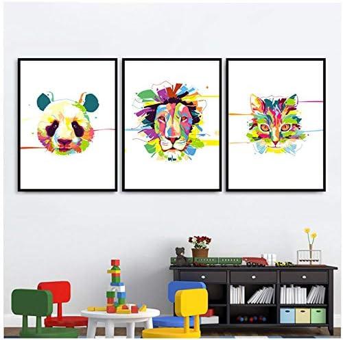 家の装飾アートプリントhd北欧スタイル壁漫画動物パンダライオンヘッドポスターキャンバス絵画ポップ写真用リビングルーム-50x70