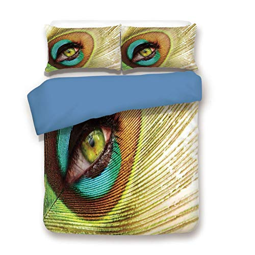 - Duvet Cover Set King Size, Decorative 3 Piece Bedding Set with 2 Pillow Shams, Woman Looking Through Peacock Feather Eye Creative Decorating Illustration Decorative