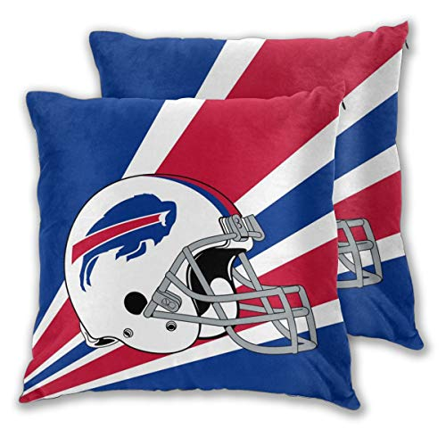 Marrytiny Custom Colorful Pillowcase Set of 2 Buffalo Bills American Football Team Bedding Pillow Covers Pillow Cases for Sofa Bedroom Home Decorative - 18x18 Inches ()