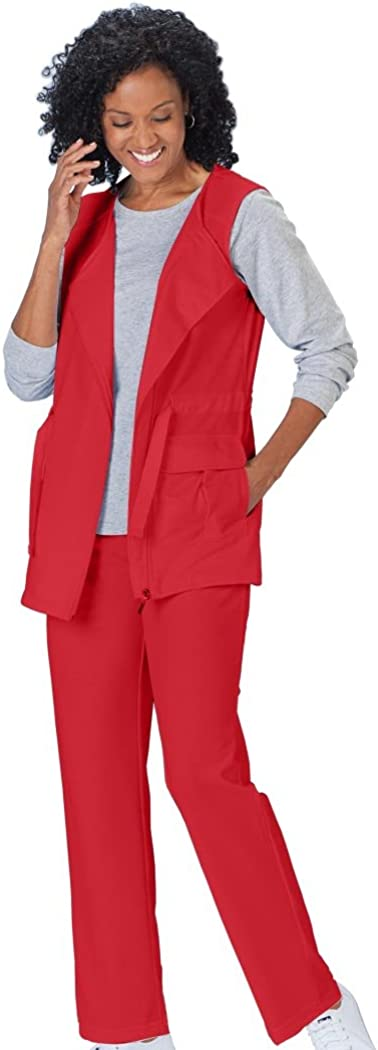 AmeriMark Womens Anorak Vest and Straight Leg Elastic Waist Two-Piece Pant Set