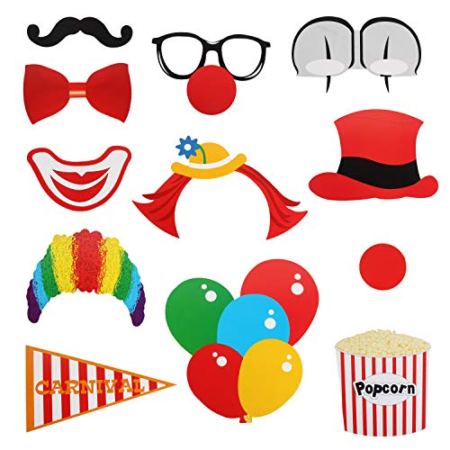 Carnival Photo Booth Props Sign Kit - Circus Clown Selfie Dress-up Props - Birthday Wedding Bachelorette Party Derocation -