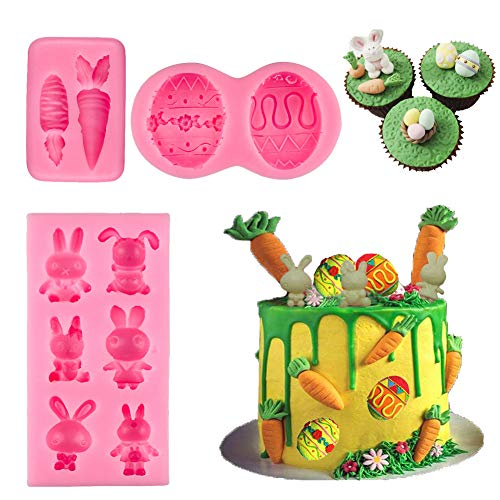 BUSOHA Easter Day Mold Set - Easter Day Bunny Mold/Egg Mold/Carrot Mold Fondant Silicone for Cake Baking Cake Topper Decorating Chocolate Candy Mini Soap Wax Crayon Polymer Paper Clay Tools (Mold Cake 3d Easter Bunny)