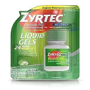 Zyrtec 24 Hour Indoor & Outdoor Allergy Medicine Liquid Gels With Cetirizine, 40 Count