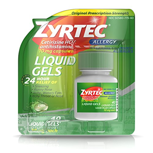 Zyrtec 24 HR Indoor & Outdoor Allergy Liquid Gels Capsules, Cetirizine HCI Antihistamine, 40 ct