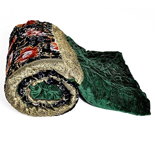 Little India Jaipuri Green Color Floral Single Bed Velvet Quilt - Velvet Jaipuri