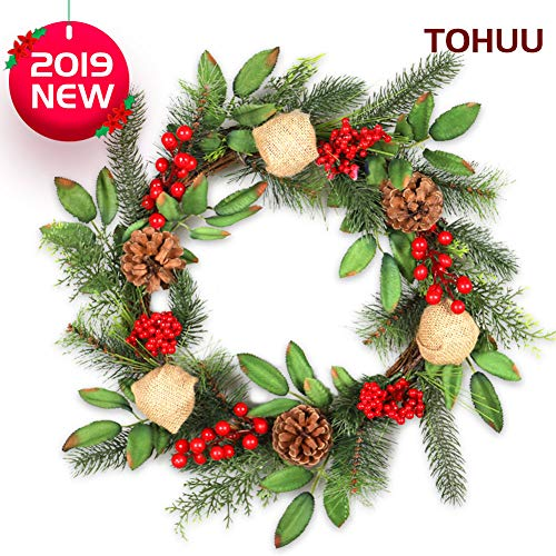 TOHUU Christmas Wreath,18 Inch Christmas Wreaths for Front Door Handcraft Boxwood Frame with Variant Red Berry & Evergreen Leaf- Ideal Winter Decorating for Indoor & Outdoor Use- Without Light (For Christmas Decorating A Wreath)