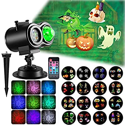 Projector Light, Ocean Wave Halloween Christmas Projector Light Decorative Light with Timer, 16 Slides, Remote, 15 Colors, Relaxing Light Show, LED Night Light, Mood Lamp