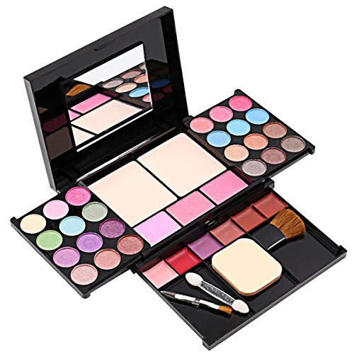 Halloween Makeup Tired Eyes (Eyeshadow Palette Makeup Palette 35 Bright Colors Matter and Shimmer Lip Gloss Blush Brushes Makeup Eyeshadow Palette Highly Pigmented Cosmetic)