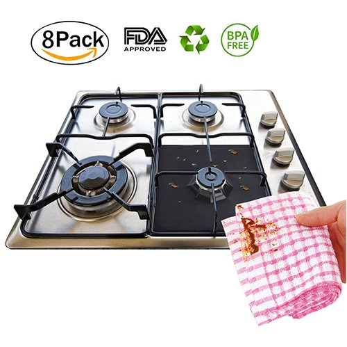 Gas Range Protectors Black,8-Pack Double Thickness Gas Range Burner Protectors Reusable, Non-Stick, Dishwasher Safe, Easy to Clean Gas Stove Burner Covers by (Double Gas Dishwasher)