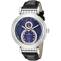 Lucien Piccard Men's 'Polaris' Quartz Stainless Steel and Black Leather Casual Watch (Model: LP-10619-03-RA)