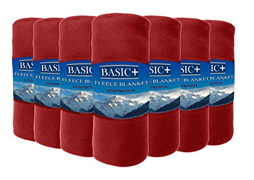 Wholesale Case Packed Fleece Throw Blankets & Decorative Furniture Covers Bulk Of 24 By Premium – 100% Soft, Warm Polyester – Solid Assorted, Individual Colors Available – 50x60 (Fleece Throw Bulk)