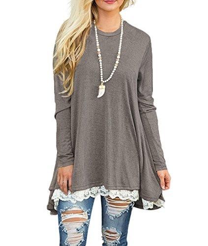 WEKILI Women's Tops Long Sleeve Lace Scoop Neck A-line Tunic Blouse Gray...