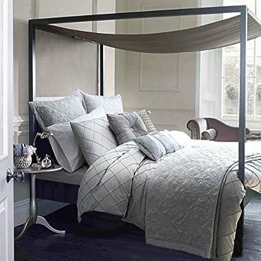Adream 6 Piece Silk/Cotton Diamond Bedding Set, Queen, Gray