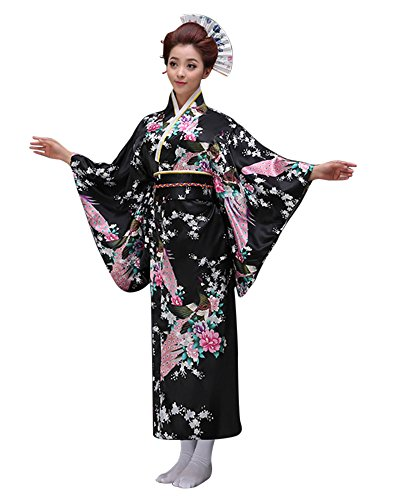 CRB Womens Girls Kimono Japanese Asian Top Dress Robe Sash Belt Fan Set (USA Adult Med, Black)