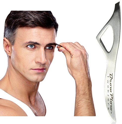 Price comparison product image Brow Plow Tweezers - See Our WIN-NO-MATTER-WHAT GUARANTEE - Best Precision Slant Eyebrow Hair Removal Tweezers Made For Men