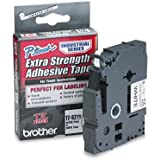 Brother 1/4 Inch x 26.2 Feet Black on White Tape with Super Strong Adhesive (TZS211)