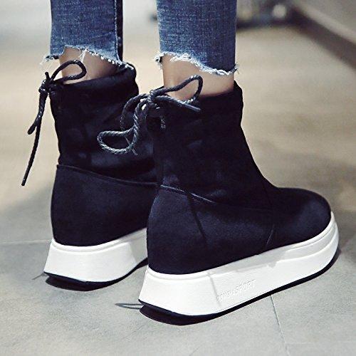 posteriore breve scarpe Boots Plus selvatici satin KPHY fascetta di 35 stivali Snow neri cotone velluto caldo qOwqPxX