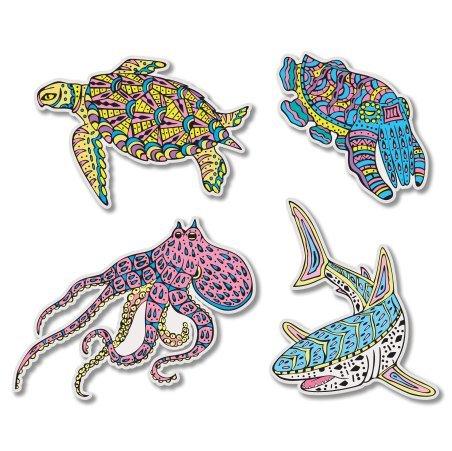 Sealife Shark Octopus Turtle Set Vinyl Sticker - Car Window Bumper Laptop - SELECT SIZE