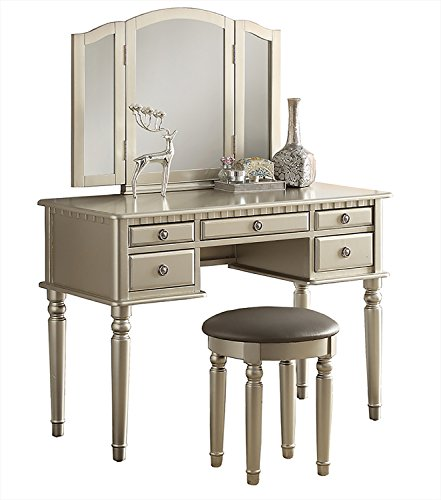 -  Bobkona F4079 St. Croix Collection Vanity Set with Stool, Silver