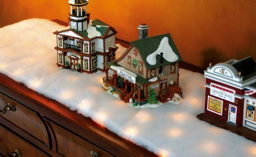 Collections Etc LED Snow Battery Operated Table Runner